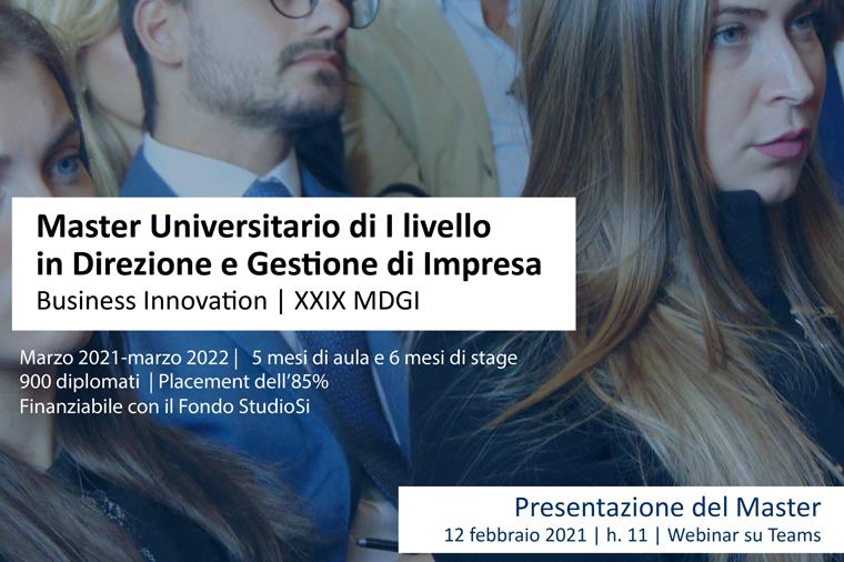 Presentazione Master Universitario in Direzione e Gestione di Impresa